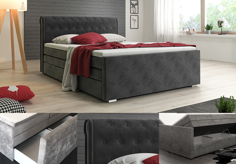 boxspringbett mit bettksten in premium ausf hrung bei designer. Black Bedroom Furniture Sets. Home Design Ideas
