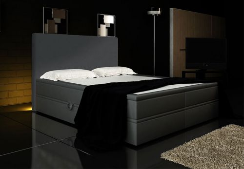 boxspringbett rio 160x200 liftfunktion led kopfteil grau ebay. Black Bedroom Furniture Sets. Home Design Ideas