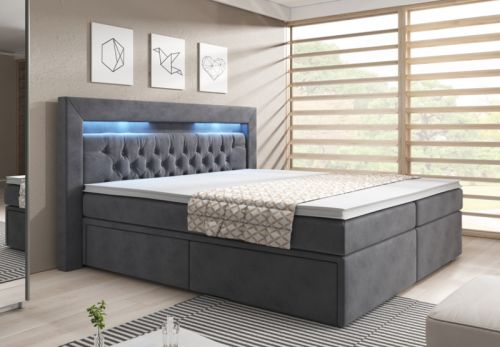 boxspringbett 180x200 samt grau mit bettkasten chesterfiel led bett matratze ebay. Black Bedroom Furniture Sets. Home Design Ideas