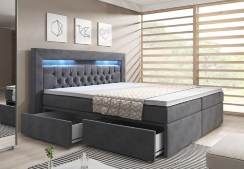 boxspringbett 180x200 bettkasten samt grau topper led kopfteil bett matratze ebay. Black Bedroom Furniture Sets. Home Design Ideas