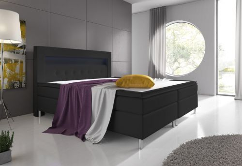 boxspringbett venedig 160x200 schwarz inklusive topper ebay. Black Bedroom Furniture Sets. Home Design Ideas